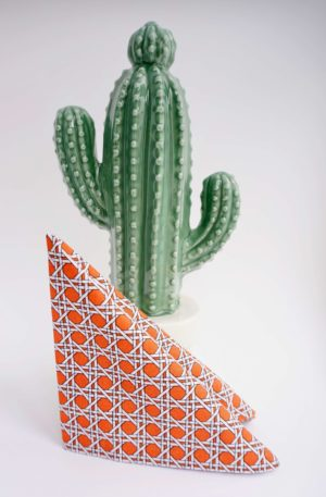 La pochette dandy graphique orange et blanc